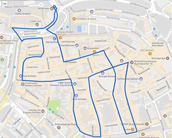 Route Zombiewalk Arnhem 2017