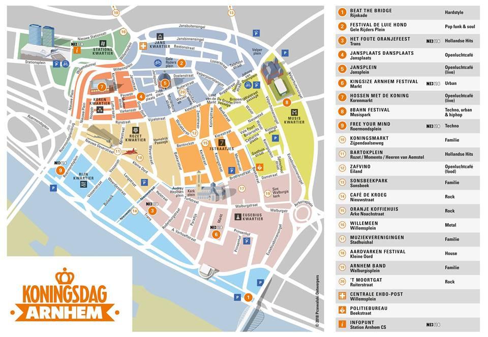 Plattegrond Koningsdag Arnhem